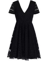 Sandro Flared Lace Mini Dress Black
