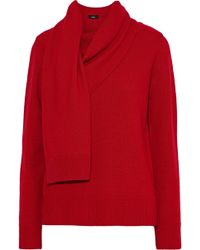 Goen.J - Woman Draped Wool And Cashmere-blend Sweater Red - Lyst