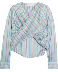 Esteban Cortazar - Twist-front Striped Silk Top - Lyst