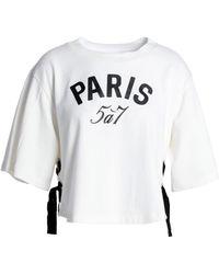 Cinq À Sept - Lace-up Printed Cotton-jersey T-shirt - Lyst