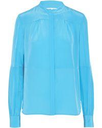 Diane von Furstenberg - Gathered Silk Crepe De Chine Shirt - Lyst