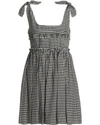 ALEXACHUNG - Shirred Gingham Poplin Mini Dress - Lyst