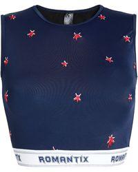 Zoe Karssen - Woman Embroidered Printed Bikini Top Midnight Blue - Lyst