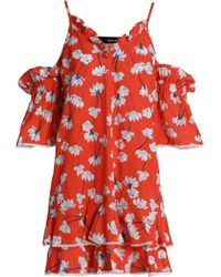 Nicholas - Floral-print Broderie Anglaise Cotton And Silk-blend Mini Dress Tomato Red - Lyst