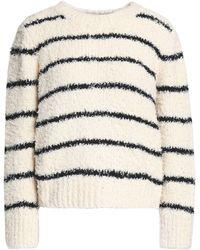 Vince - Striped Cotton-blend Bouclé Sweater - Lyst
