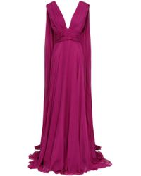 Monique Lhuillier - Woman Open-back Draped Silk-chiffon Gown Magenta - Lyst