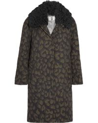 Topshop Unique - Sidgwick Shearling-trimmed Cloqué Coat Animal Print - Lyst