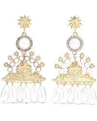 Elizabeth Cole - Woman 24-karat Gold-plated, Faux Pearl And Crystal Earrings White - Lyst