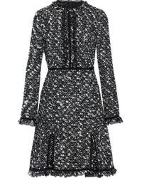 86bff1782e73f6 Giambattista Valli - Woman Lace-trimmed Frayed Cotton-blend Bouclé-tweed  Mini Dress