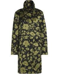 Michael Kors - Floral-print Cotton And Silk-blend Coat Sage Green - Lyst