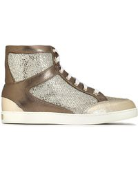 Jimmy Choo - Tokyo Glittered Mesh And Metallic Leather High-top Trainers - Lyst