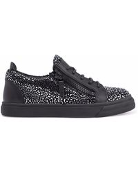 Giuseppe Zanotti - London Leather And Metallic Suede Sneakers - Lyst