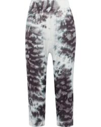 Enza Costa - Cropped Tie-dyed Satin Straight-leg Pants - Lyst