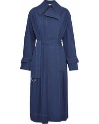 Cedric Charlier - Pintucked Cotton-blend Trench Coat - Lyst