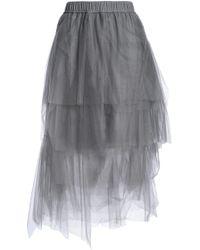Brunello Cucinelli - Asymmetric Tiered Tulle Midi Skirt - Lyst