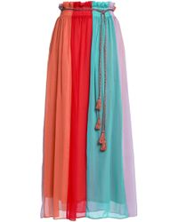 Antik Batik - Tasseled Color-block Chiffon Maxi Skirt - Lyst