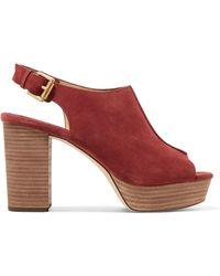 MICHAEL Michael Kors | Piper Sling Suede Platform Sandals | Lyst
