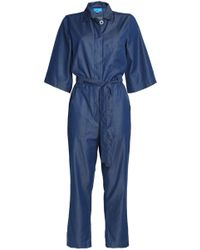M.i.h Jeans - Woman Montara Cropped Cotton-blend Chambray Jumpsuit Mid Denim - Lyst