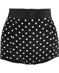 Dolce & Gabbana - Polka-dot Silk-blend And Lace Shorts - Lyst