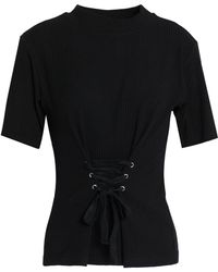 W118 by Walter Baker - Amanda Lace-up Ribbed Cotton-blend Top - Lyst