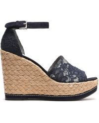 Stuart Weitzman - Suede-trimmed Corded Lace Wedge Espadrille Sandals - Lyst