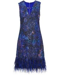 Elie Tahari - Lyra Feather-trimmed Tinsel And Organza Mini Dress - Lyst