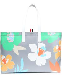 Thom Browne - Floral-print Textured-leather Tote - Lyst
