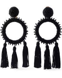 Oscar de la Renta - Tasseled Beaded Clip Earrings - Lyst