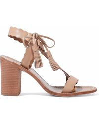 2c540a7ce7d Lyst - Lanvin Scalloped Leather Slingback Wedge Sandal Rose in Natural