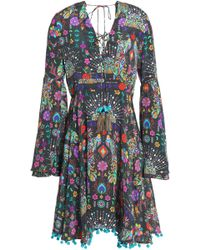 Matthew Williamson - Lace-up Pompom-trimmed Printed Silk Crepe De Chine Dress - Lyst