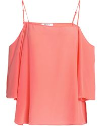 6fb4cb4ffa183 Bailey 44 - Woman Moonlight Walk Cold-shoulder Silk Crepe De Chine Top  Coral -