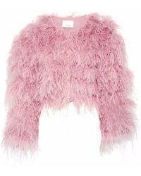 Cinq À Sept - Lennox Cropped Feather-embellished Mesh Jacket - Lyst