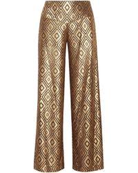 Anna Sui - Woman Metallic Devoré-chiffon Wide-leg Trousers Gold - Lyst