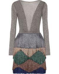 Missoni - Tiered Fringed Metallic Knitted Mini Dress - Lyst