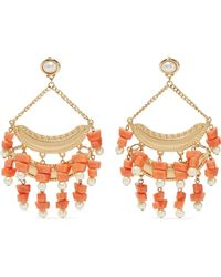Kenneth Jay Lane - Gold-tone, Faux Pearl And Bead Earrings - Lyst