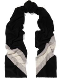 Madeleine Thompson - Woman Gunther Striped Wool And Cashmere-blend Scarf Black - Lyst