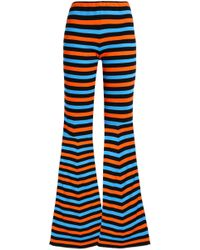 Moschino - Striped Cotton Flared Trousers - Lyst
