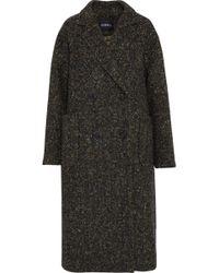 Goen.J Double-breasted Herringbone Wool Coat Dark Green
