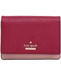 Kate Spade Two-tone Textured-leather Wallet Claret