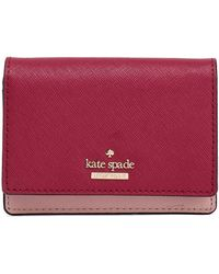 Kate Spade - Woman Two-tone Textured-leather Wallet Claret - Lyst