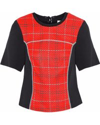 3.1 Phillip Lim Woman Paneled Checked Woven And Twill Top White Size 4 3.1 Phillip Lim 2018 Cheap Online Shopping Online Outlet Sale Sale Fashionable Free Shipping Store Buy Cheap Best Wholesale Zq5JO