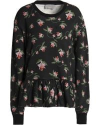 Preen By Thornton Bregazzi - Floral-print Cotton-terry Peplum Sweatshirt - Lyst