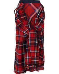 Sacai - Asymmetric Tie-front Checked Cotton Midi Skirt - Lyst
