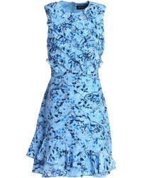 Saloni - Ruffled Floral-print Silk-georgette Mini Dress - Lyst