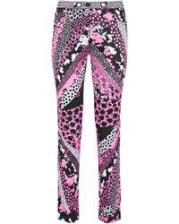 Versace - Printed Cotton-blend Skinny Pants - Lyst