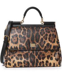 Dolce & Gabbana - Miss Sicily Leopard-print Textured-leather Shoulder Bag Animal Print - Lyst