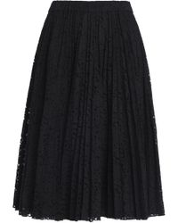 N°21 - Pleated Cotton-blend Lace Skirt - Lyst