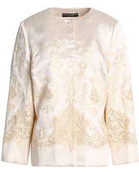 Dolce & Gabbana - Mesh-trimmed Embroidered Silk-blend Twill Jacket - Lyst