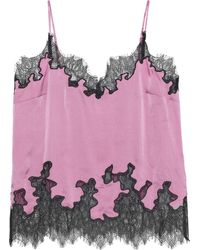 Robert Rodriguez Lace-trimmed Hammered Silk-charmeuse Camisole Lavender - Multicolour