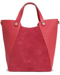 Halston - Leather-paneled Suede Tote - Lyst